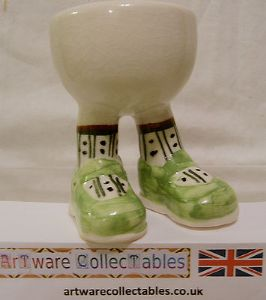 Carlton Ware Lustre Pottery Walking Ware Green Shoes Standing Eggcup on Stand - SOLD